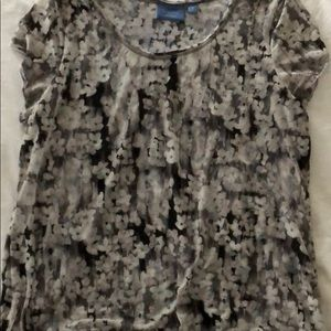 Simply Vera muted grey floral lined top sz XL